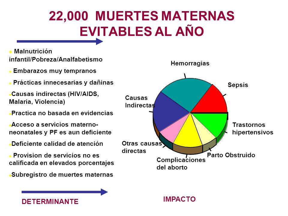 22,000 MUERTES MATERNAS EVITABLES AL AÑO l Malnutrición infantil/Pobreza/Analfabetismo l Embarazos muy tempranos l Prácticas innecesarias y dañinas l