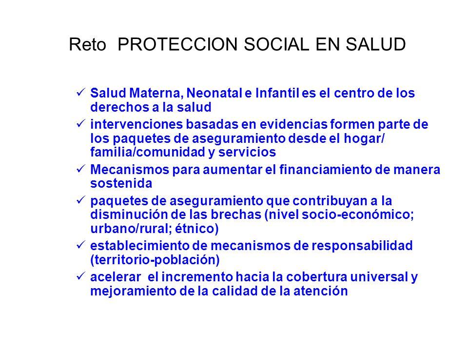 Reto PROTECCION SOCIAL EN SALUD Salud Materna, Neonatal e Infantil es el centro de los derechos a la salud intervenciones basadas en evidencias formen