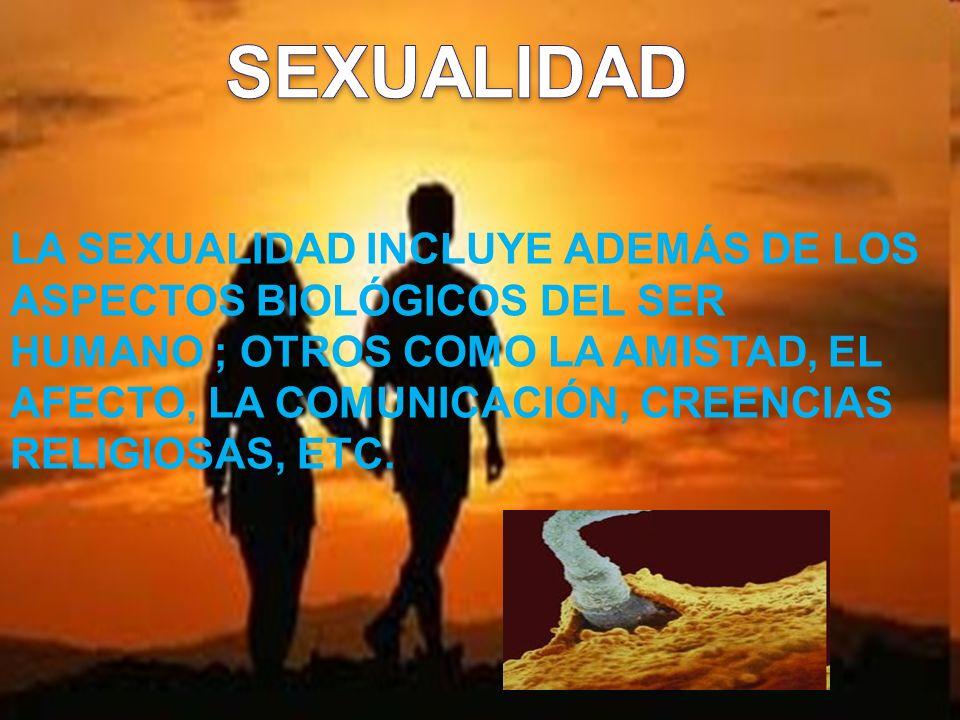 LA SEXUALIDAD INCLUYE ADEMÁS DE LOS ASPECTOS BIOLÓGICOS DEL SER HUMANO ; OTROS COMO LA AMISTAD, EL AFECTO, LA COMUNICACIÓN, CREENCIAS RELIGIOSAS, ETC.