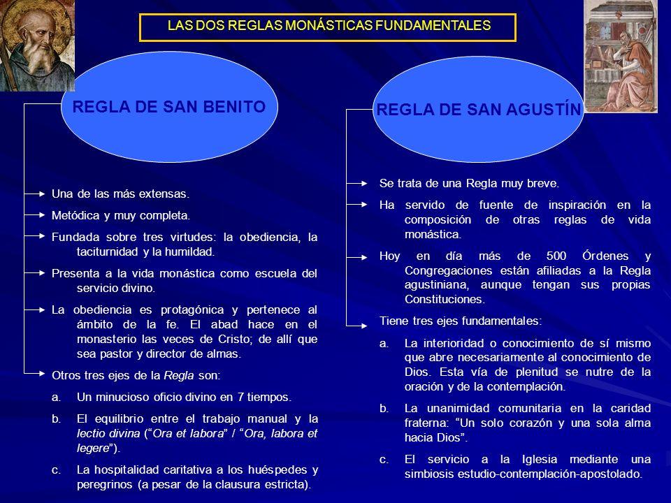 REGLA DE SAN BENITO REGLA DE SAN AGUSTÍN Una de las más extensas. Metódica y muy completa. Fundada sobre tres virtudes: la obediencia, la taciturnidad