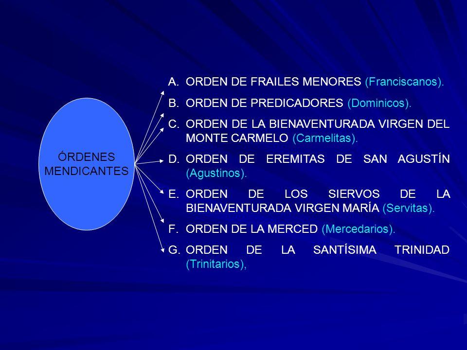 ÓRDENES MENDICANTES A.ORDEN DE FRAILES MENORES (Franciscanos). B.ORDEN DE PREDICADORES (Dominicos). C.ORDEN DE LA BIENAVENTURADA VIRGEN DEL MONTE CARM