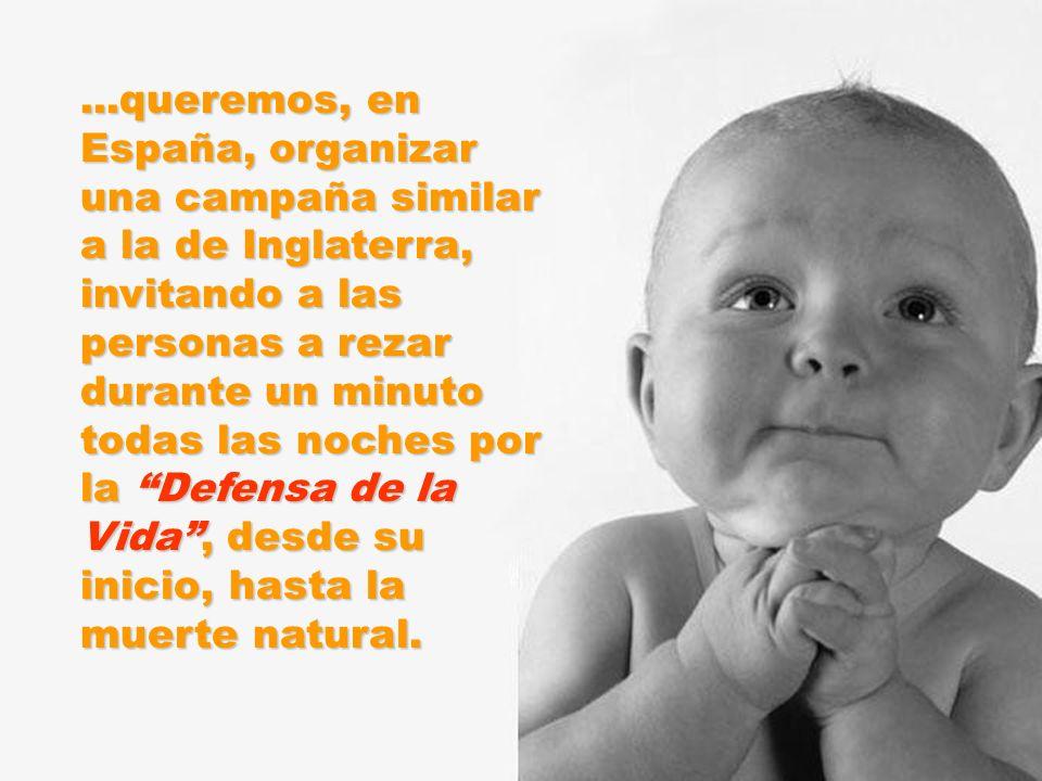 ...queremos, en España, organizar una campaña similar a la de Inglaterra, invitando a las personas a rezar durante un minuto todas las noches por la Defensa de la Vida, desde su inicio, hasta la muerte natural.