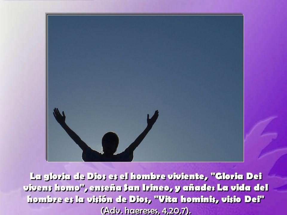 La gloria de Dios es el hombre viviente, Gloria Dei vivens homo , enseña San Irineo, y añade: La vida del hombre es la visión de Dios, Vita hominis, visio Dei (Adv.