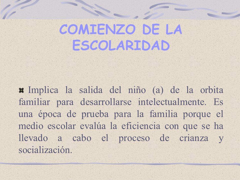COMIENZO DE LA ESCOLARIDAD Implica la salida del niño (a) de la orbita familiar para desarrollarse intelectualmente.