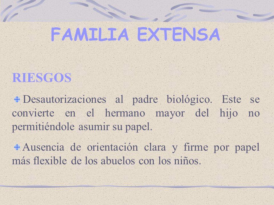FAMILIA EXTENSA RIESGOS Desautorizaciones al padre biológico.