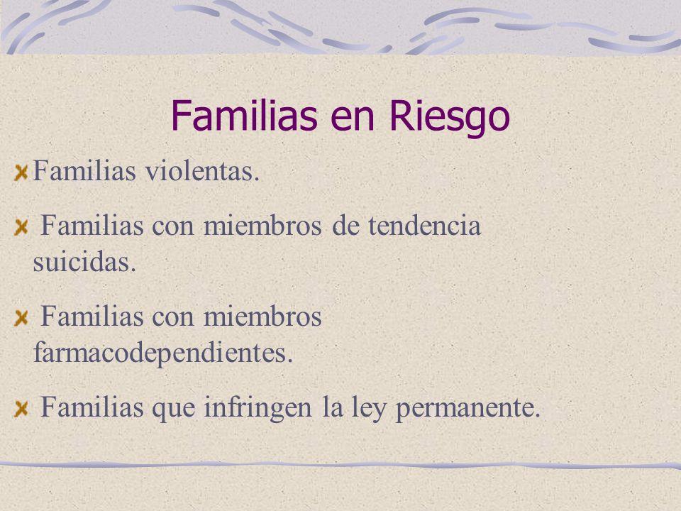 Familias en Riesgo Familias violentas.Familias con miembros de tendencia suicidas.