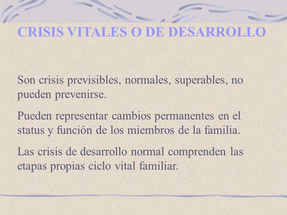 CRISIS VITALES O DE DESARROLLO Son crisis previsibles, normales, superables, no pueden prevenirse.
