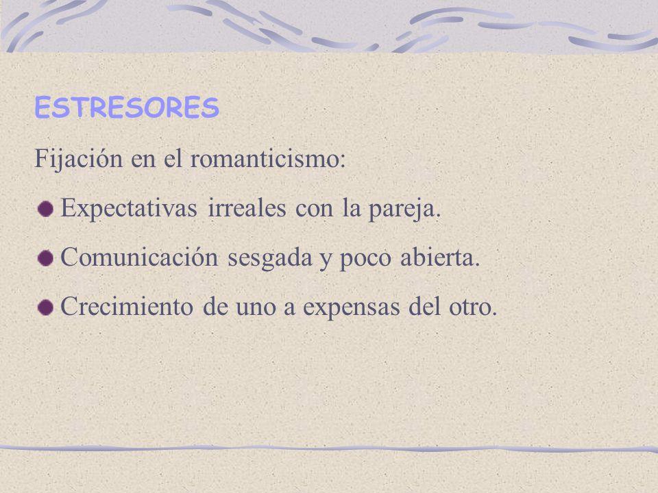 ESTRESORES Fijación en el romanticismo: Expectativas irreales con la pareja.