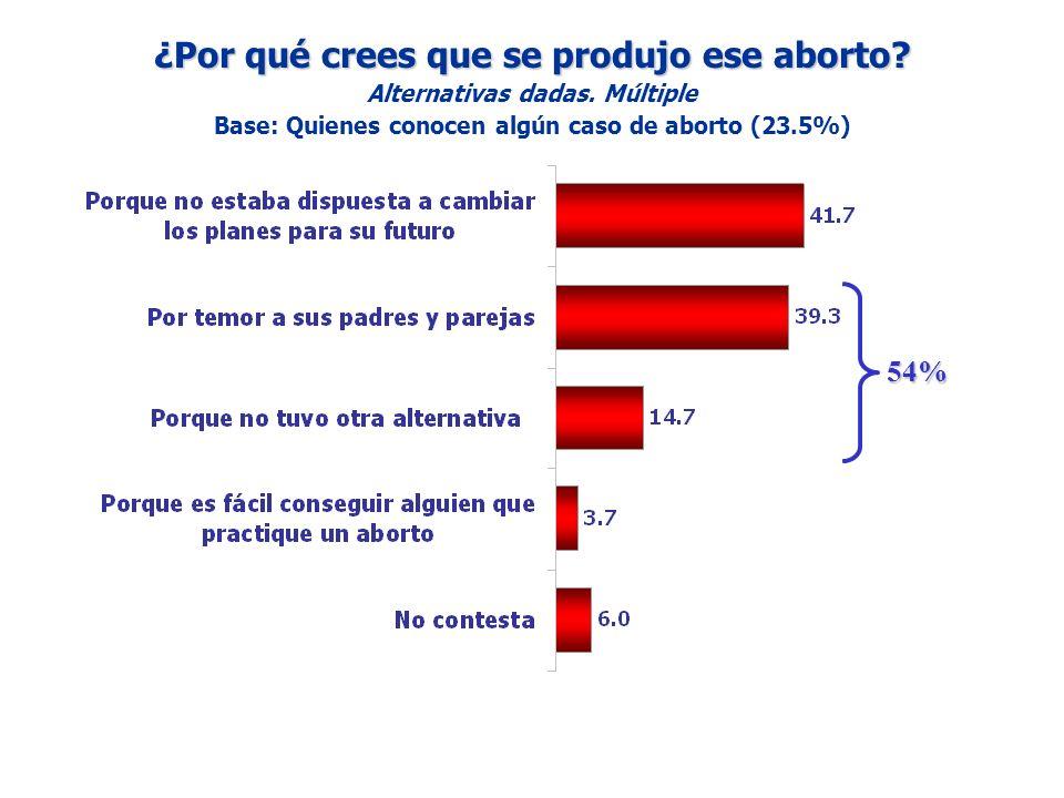 ¿Por qué crees que se produjo ese aborto? Alternativas dadas. Múltiple Base: Quienes conocen algún caso de aborto (23.5%) 54%