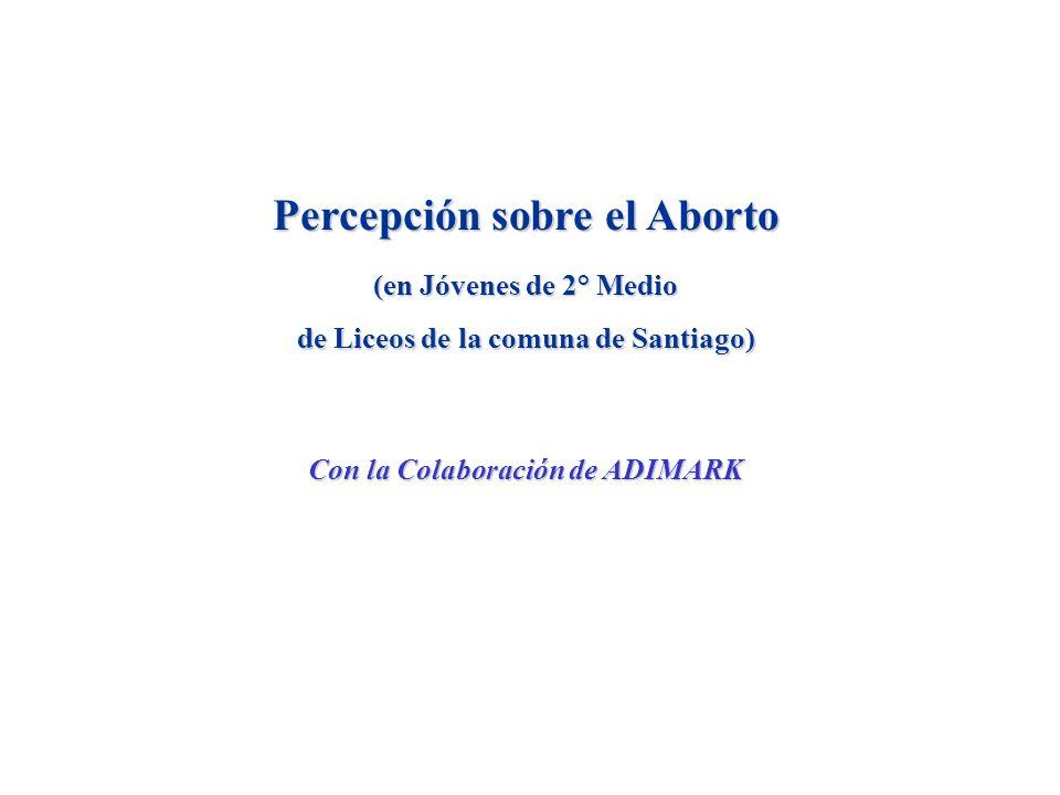 Percepción sobre el Aborto (en Jóvenes de 2° Medio de Liceos de la comuna de Santiago) Con la Colaboración de ADIMARK