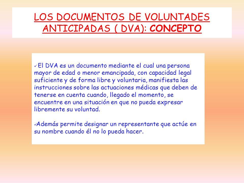 LOS DOCUMENTOS DE VOLUNTADES ANTICIPADAS ( DVA): CONCEPTO El DVA es un documento mediante el cual una persona mayor de edad o menor emancipada, con ca