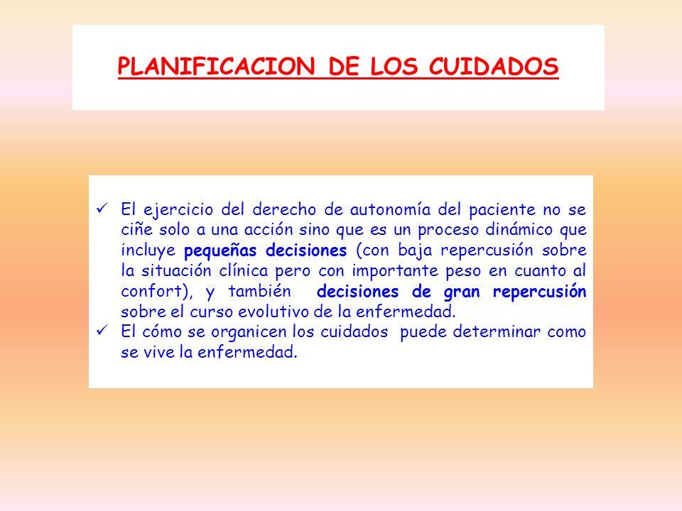 PLANIFICACION DE LOS CUIDADOS El ejercicio del derecho de autonomía del paciente no se ciñe solo a una acción sino que es un proceso dinámico que incl