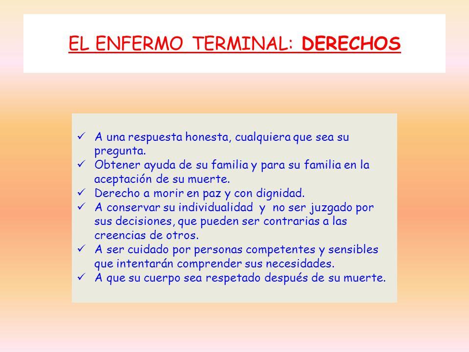 EL ENFERMO TERMINAL: DERECHOS A una respuesta honesta, cualquiera que sea su pregunta. Obtener ayuda de su familia y para su familia en la aceptación