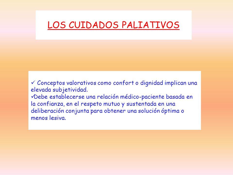 LOS CUIDADOS PALIATIVOS Conceptos valorativos como confort o dignidad implican una elevada subjetividad. Debe establecerse una relación médico-pacient