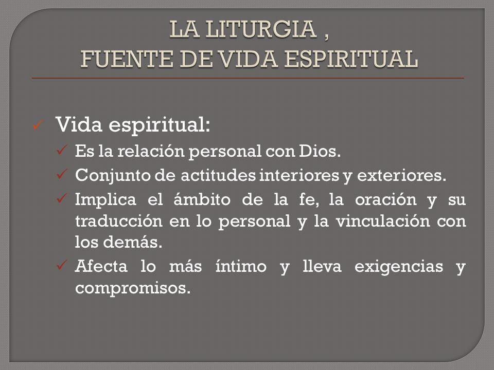 Vida espiritual: Es la relación personal con Dios.