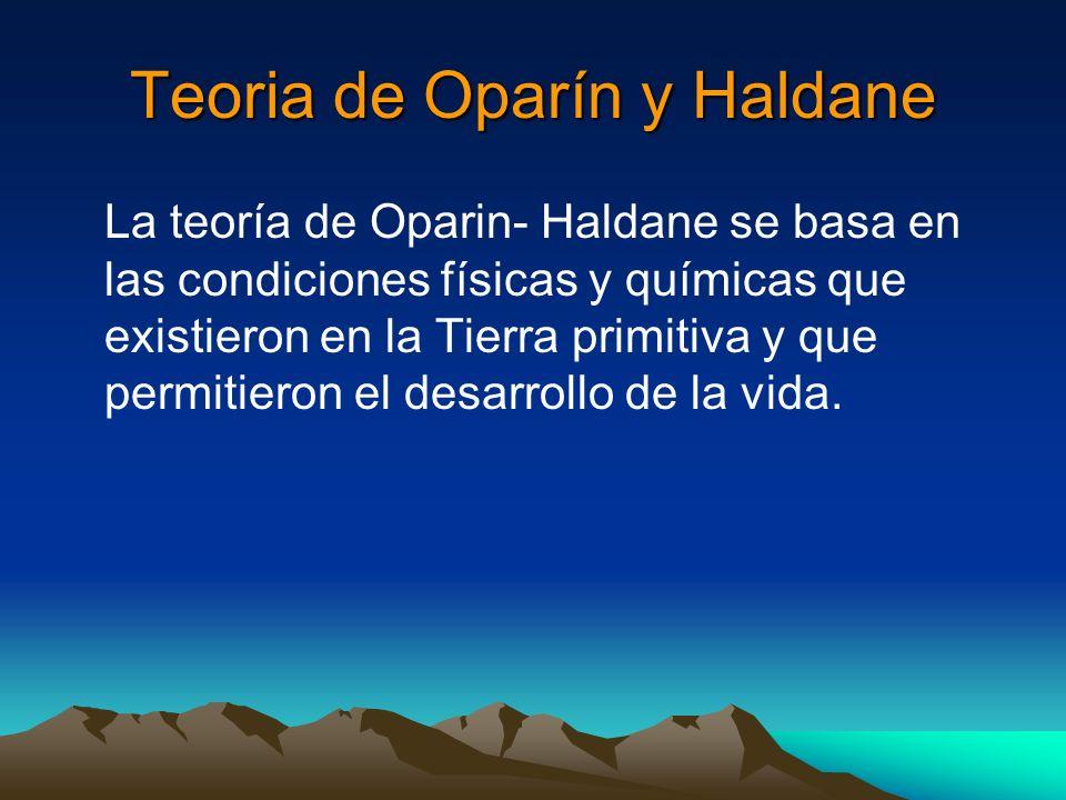 Teoria de Oparín y Haldane La teoría de Oparin- Haldane se basa en las condiciones físicas y químicas que existieron en la Tierra primitiva y que perm