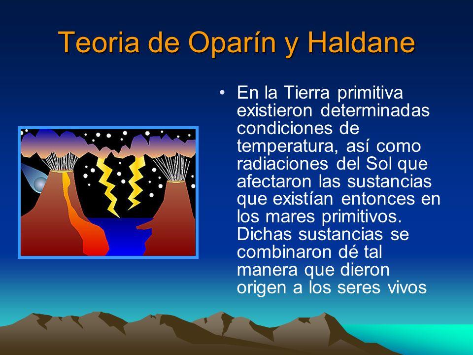 Teoria de Oparín y Haldane En la Tierra primitiva existieron determinadas condiciones de temperatura, así como radiaciones del Sol que afectaron las s