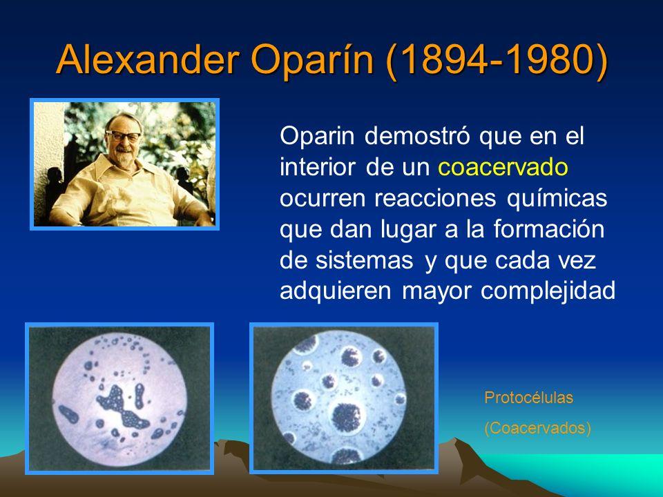 Alexander Oparín (1894-1980) Oparin demostró que en el interior de un coacervado ocurren reacciones químicas que dan lugar a la formación de sistemas