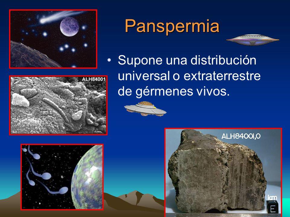 Panspermia Panspermia Supone una distribución universal o extraterrestre de gérmenes vivos.