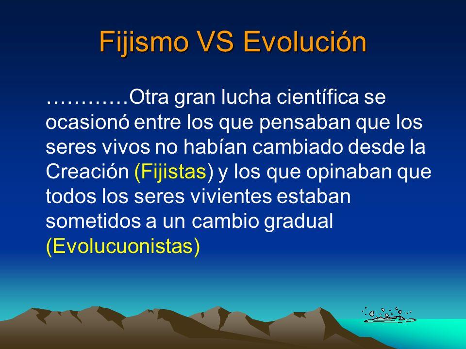 Fijismo VS Evolución …………Otra gran lucha científica se ocasionó entre los que pensaban que los seres vivos no habían cambiado desde la Creación (Fijis