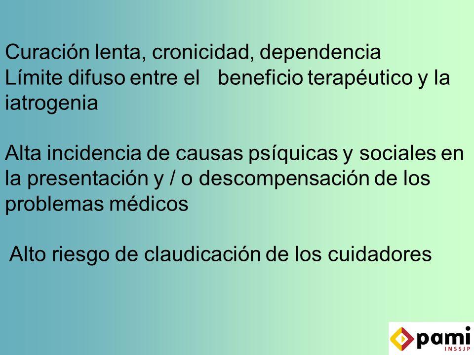 Curación lenta, cronicidad, dependencia Límite difuso entre el beneficio terapéutico y la iatrogenia Alta incidencia de causas psíquicas y sociales en la presentación y / o descompensación de los problemas médicos Alto riesgo de claudicación de los cuidadores