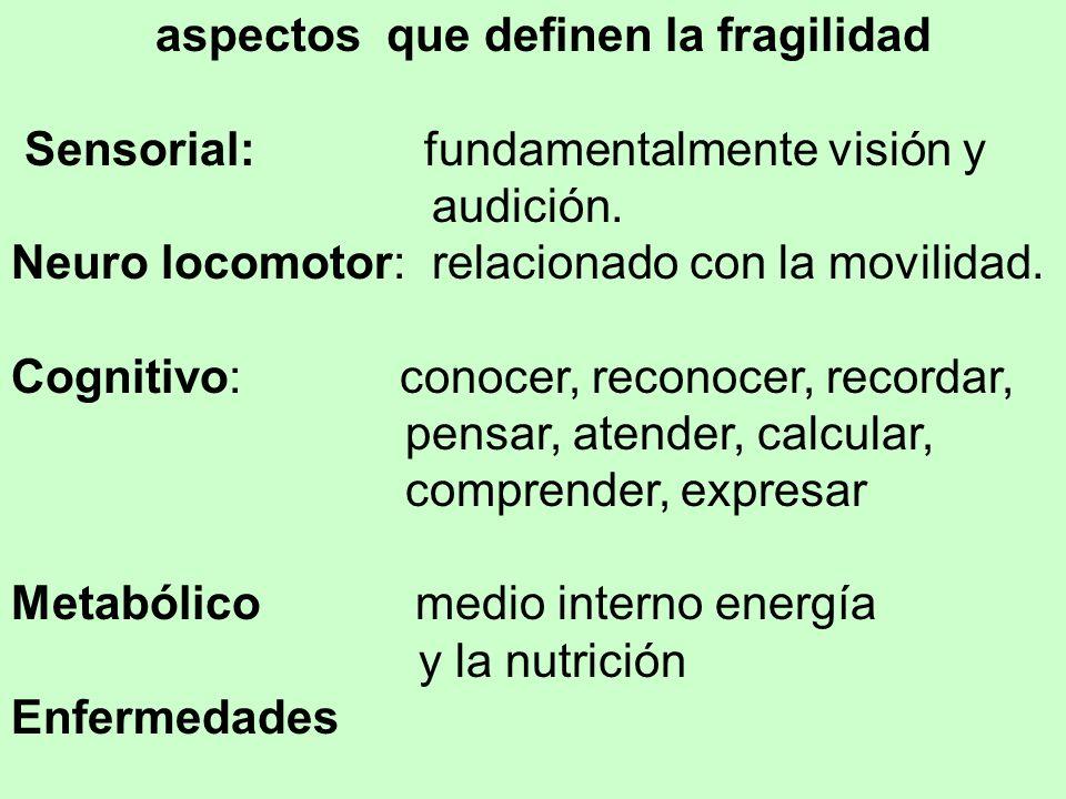 aspectos que definen la fragilidad Sensorial: fundamentalmente visión y audición.