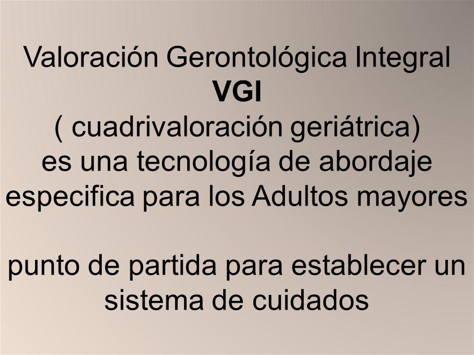 Valoración Gerontológica Integral VGI ( cuadrivaloración geriátrica) es una tecnología de abordaje especifica para los Adultos mayores punto de partida para establecer un sistema de cuidados
