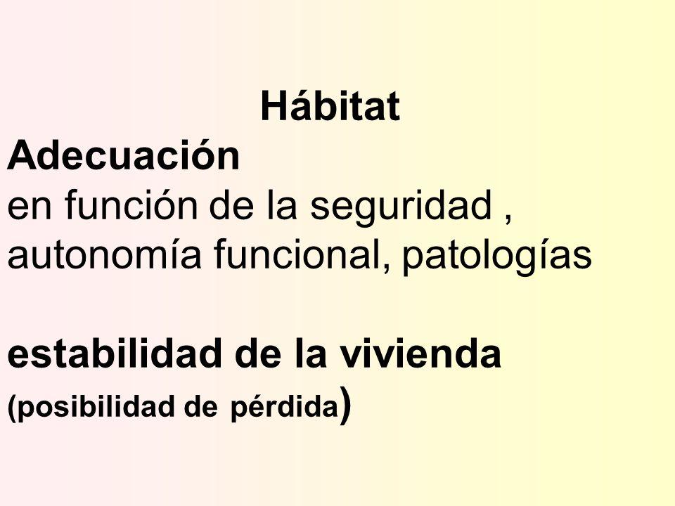 Hábitat Adecuación en función de la seguridad, autonomía funcional, patologías estabilidad de la vivienda (posibilidad de pérdida )