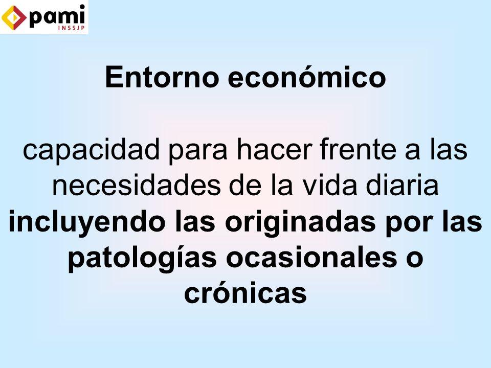 Entorno económico capacidad para hacer frente a las necesidades de la vida diaria incluyendo las originadas por las patologías ocasionales o crónicas