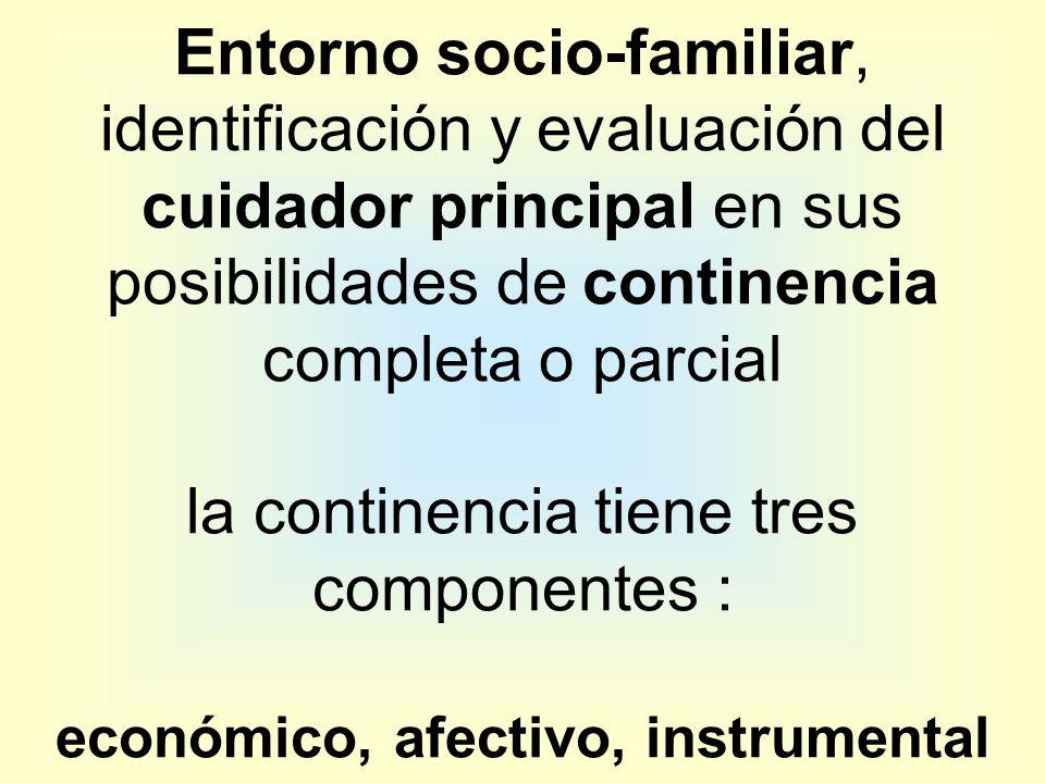 Entorno socio-familiar, identificación y evaluación del cuidador principal en sus posibilidades de continencia completa o parcial la continencia tiene tres componentes : económico, afectivo, instrumental