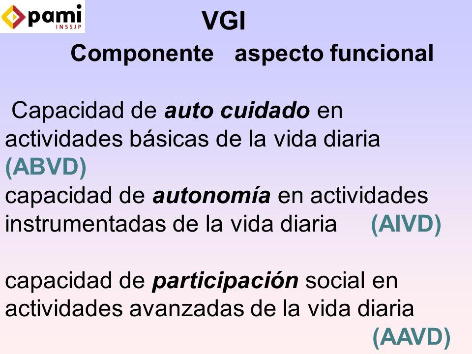 VGI Componente aspecto funcional Capacidad de auto cuidado en actividades básicas de la vida diaria (ABVD) capacidad de autonomía en actividades instrumentadas de la vida diaria (AIVD) capacidad de participación social en actividades avanzadas de la vida diaria (AAVD)
