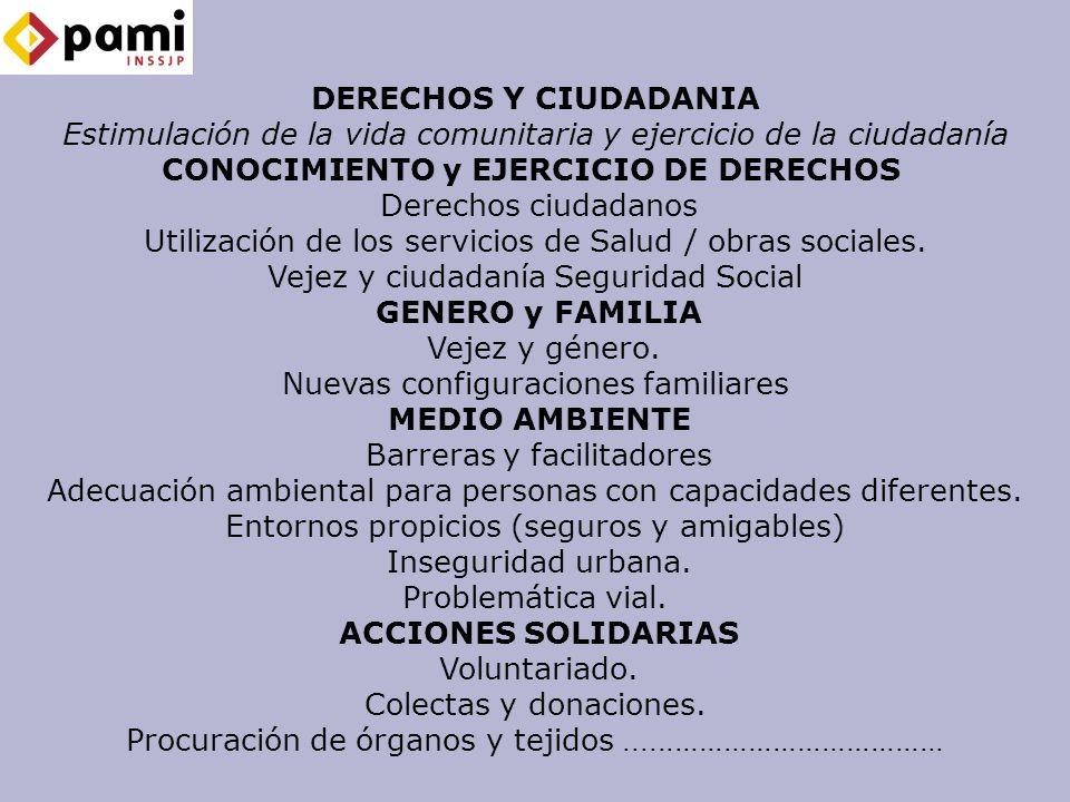 DERECHOS Y CIUDADANIA Estimulación de la vida comunitaria y ejercicio de la ciudadanía CONOCIMIENTO y EJERCICIO DE DERECHOS Derechos ciudadanos Utilización de los servicios de Salud / obras sociales.