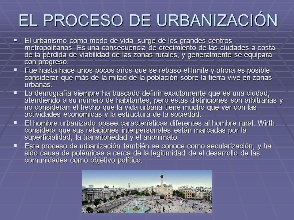 EL PROCESO DE URBANIZACIÓN El urbanismo como modo de vida surge de los grandes centros metropolitanos. Es una consecuencia de crecimiento de las ciuda