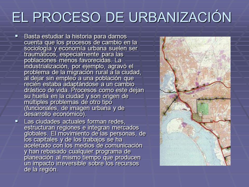 EL PROCESO DE URBANIZACIÓN Basta estudiar la historia para darnos cuenta que los procesos de cambio en la sociología y economía urbana suelen ser trau