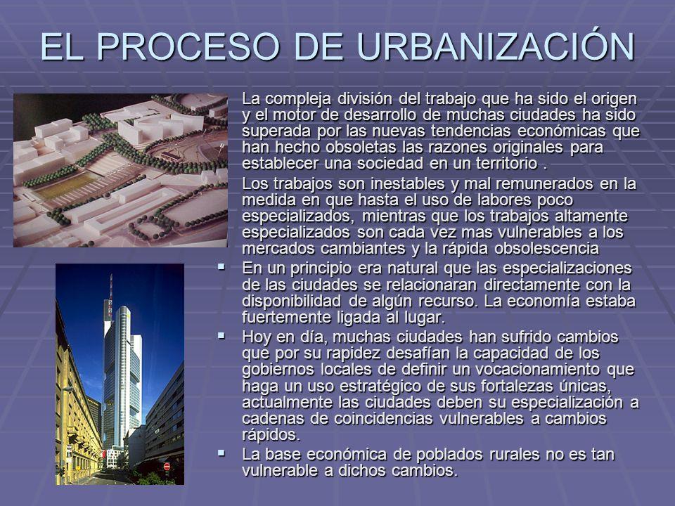 EL PROCESO DE URBANIZACIÓN La compleja división del trabajo que ha sido el origen y el motor de desarrollo de muchas ciudades ha sido superada por las