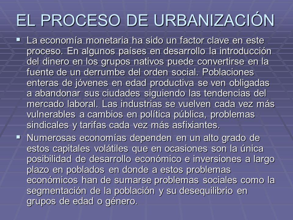 EL PROCESO DE URBANIZACIÓN La economía monetaria ha sido un factor clave en este proceso. En algunos países en desarrollo la introducción del dinero e