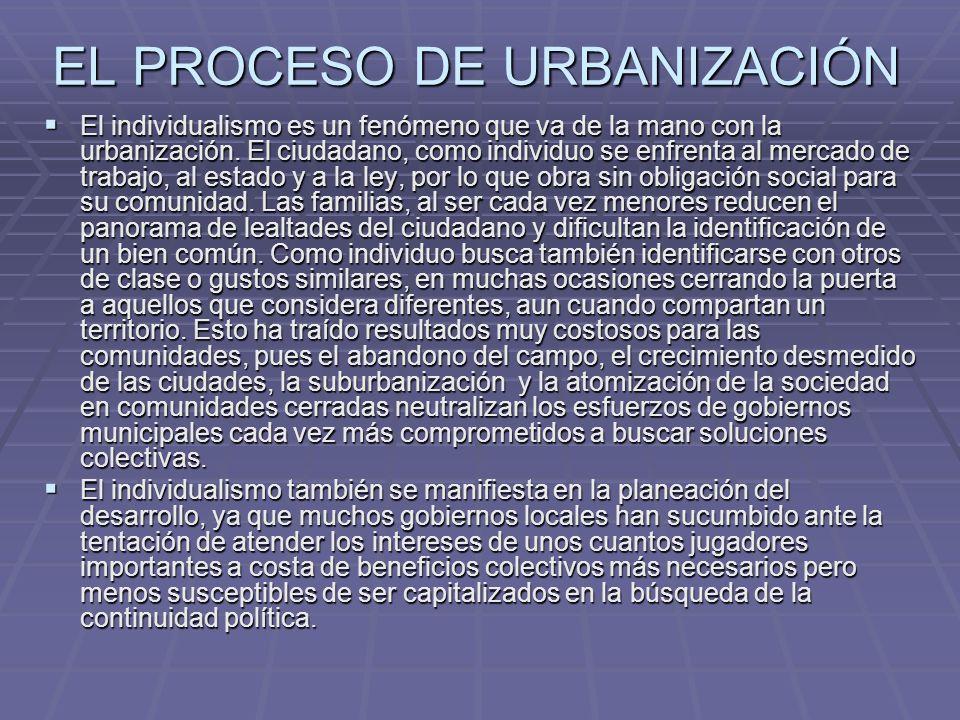 EL PROCESO DE URBANIZACIÓN El individualismo es un fenómeno que va de la mano con la urbanización. El ciudadano, como individuo se enfrenta al mercado