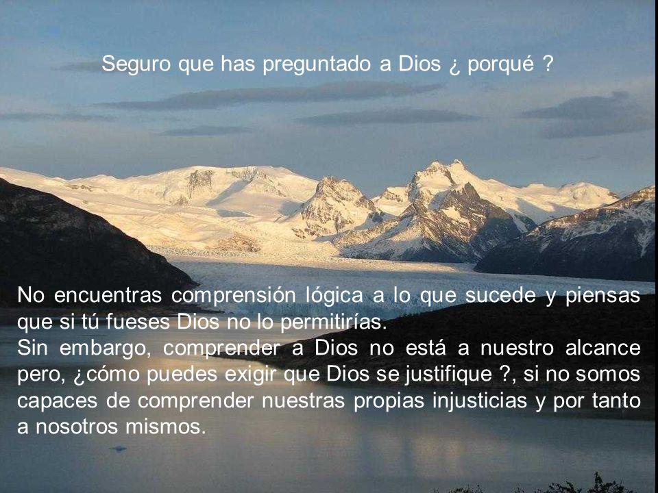 No encuentras comprensión lógica a lo que sucede y piensas que si tú fueses Dios no lo permitirías.