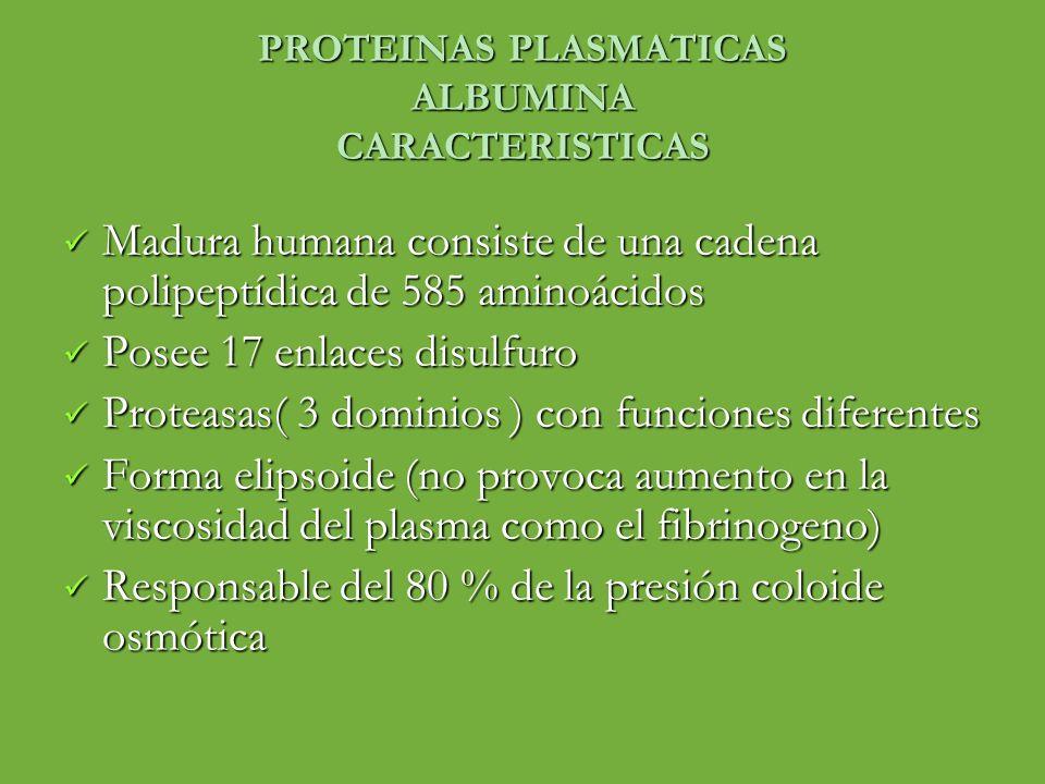 PROTEINAS PLASMATICAS ALBUMINA CARACTERISTICAS Madura humana consiste de una cadena polipeptídica de 585 aminoácidos Madura humana consiste de una cad