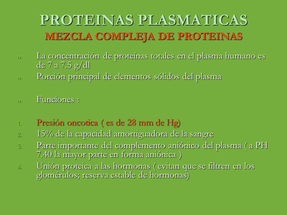 PROTEINAS PLASMATICAS VALORES NORMALES DE LA PRESION ONCOTICA DEL PLASMA Presión coloidosmotica del plasma;28 mm de Hg Presión coloidosmotica del plasma;28 mm de Hg 19 mm de Hg efectos moleculares de las proteínas disueltas 19 mm de Hg efectos moleculares de las proteínas disueltas 80% es consecuencia de la albúmina 80% es consecuencia de la albúmina 20% de las globulinas 20% de las globulinas Casi nada el fibrinogeno Casi nada el fibrinogeno 9 mm de Hg por el efecto de Donnan 9 mm de Hg por el efecto de Donnan Concentración de masa relativa (g/dl) de los distintos tipos de proteínas del plasma y su contribución en la presión coloidosmotica Albúmina 4.5 21.8 Globulinas 2.5 6 fibrinogeno0.3 0.2 total 7.3 28