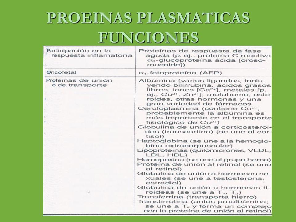 PROTEINAS PLASMATICAS 0RIGEN o Toda la albúmina y el fibrinogeno de las proteínas plasmáticas así como el 50 al 80% de las globulinas se sintetizan en el hígado o Los anticuerpos circulantes de la fracción globulina gamma son producidas en células plasmáticas o La velocidad de síntesis de proteínas plasmáticas puede alcanzar extremos de 30 g/día o Pueden actuar como fuente para reposición rápida de proteínas tisulares (fuente rápida de aminoácidos) o La mayoría se sintetizan como preproteinas o Tiempo de traslado del hepatocito hasta el plasma de 30 minutos hasta varias horas