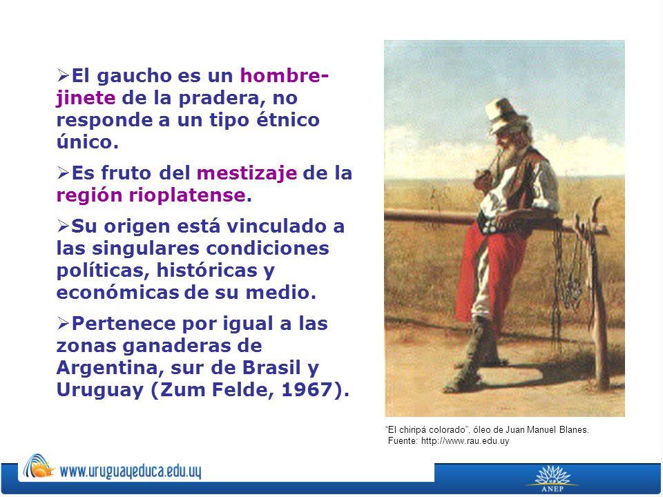 El gaucho es un hombre- jinete de la pradera, no responde a un tipo étnico único. Es fruto del mestizaje de la región rioplatense. Su origen está vinc