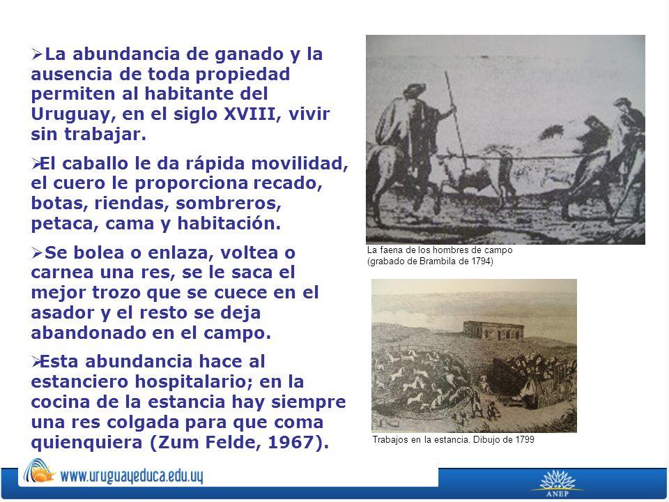 La abundancia de ganado y la ausencia de toda propiedad permiten al habitante del Uruguay, en el siglo XVIII, vivir sin trabajar. El caballo le da ráp