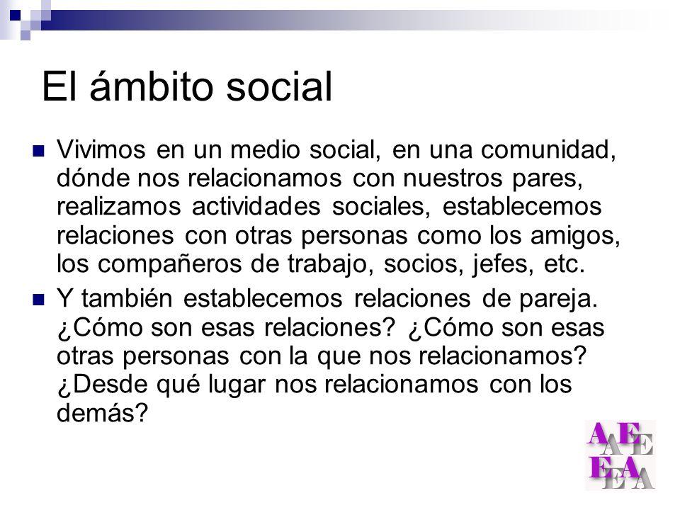 El ámbito social Vivimos en un medio social, en una comunidad, dónde nos relacionamos con nuestros pares, realizamos actividades sociales, establecemo