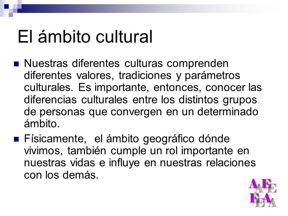 El ámbito cultural Nuestras diferentes culturas comprenden diferentes valores, tradiciones y parámetros culturales. Es importante, entonces, conocer l