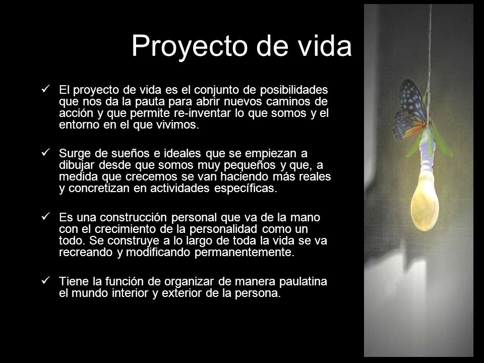 Proyecto de vida El proyecto de vida es el conjunto de posibilidades que nos da la pauta para abrir nuevos caminos de acción y que permite re-inventar