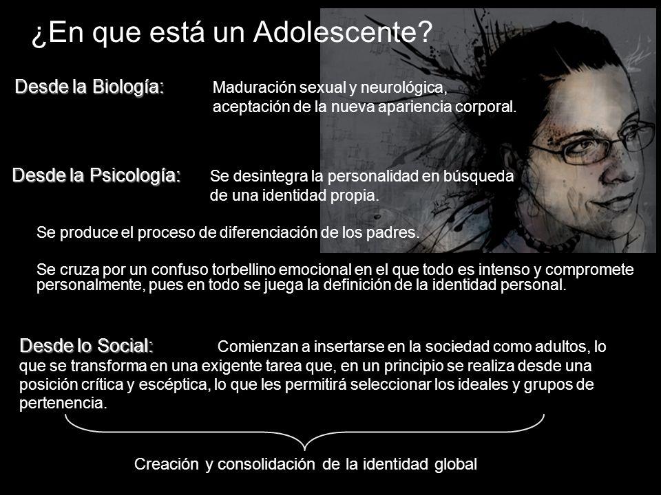 ¿En que está un Adolescente? Desde la Psicología: Desde la Psicología: Se desintegra la personalidad en búsqueda de una identidad propia. Se produce e