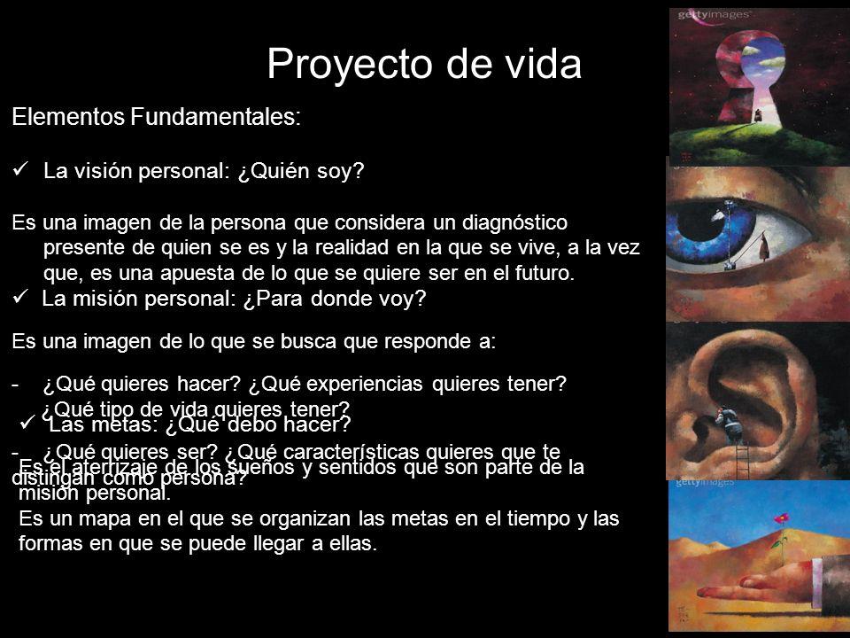 Proyecto de vida Elementos Fundamentales: La visión personal: ¿Quién soy? Es una imagen de la persona que considera un diagnóstico presente de quien s