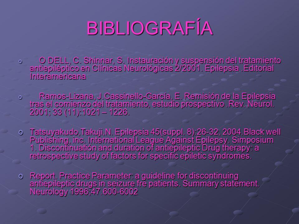 BIBLIOGRAFÍA o O DELL, C. Shinnar, S. Instauración y suspensión del tratamiento antiepiléptico en Clínicas Neurológicas 2/2001. Epilepsia.Editorial In