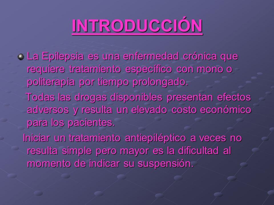 INTRODUCCIÓN La Epilepsia es una enfermedad crónica que requiere tratamiento específico con mono o politerapia por tiempo prolongado. Todas las drogas